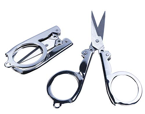 Shapenty Stainless Steel Folding Portable Travel Scissors Cutter Small Foldable Paper String Craft Shred Scissors, 2 (Best Travel Scissors)
