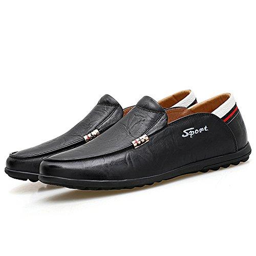 Lapens Hombres Driving Zapatos Premium Cuero Genuino Moda Slipper Casual Slip En Mocasines Zapatos Negro