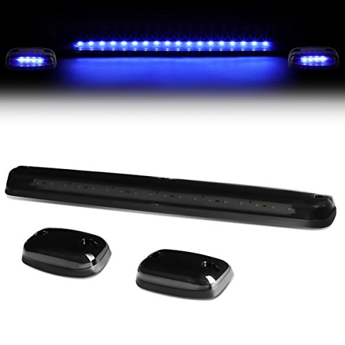 For Silverado/Sierra GMT900 LED Cab Roof Top Center Running Light + Pair Side Lamps (Smoked Housing Blue LED)