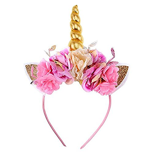 Lemoncy Gold Horn Headband Ears Photo Girl Birthday Outfit Squishy Cheeks Gold Glitter Horn Headband Flowers Headwear Accessory for Party Decoration Cosplay Costume (Pink Flower)