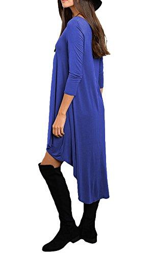 Blue Shirt Sleeve Long Loose Dress Women's Casual Irregular Aecibzo Hem IP0xn6q