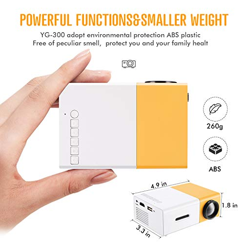 Gunor Mini Projector, YG300 Portable LED Projector Support PC Laptop USB Stick USB/SD/AV/HDMI Input for Video/Movie/Game/Home Theater Video Projector, Best Gift for kid (Yellow)