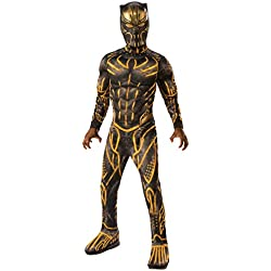 Rubie's Child's Deluxe Black Panther Movie Erik Killmonger Costume, Black/Gold, Small