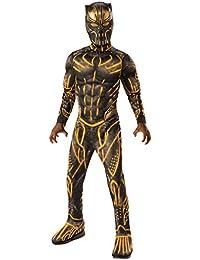 Child's Deluxe Black Panther Movie Erik Killmonger Costume, Black/Gold, Small