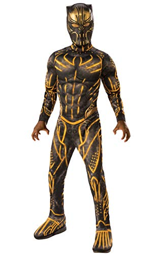 Rubie's Child's Deluxe Black Panther Movie Erik Killmonger Costume, Black/Gold, Medium