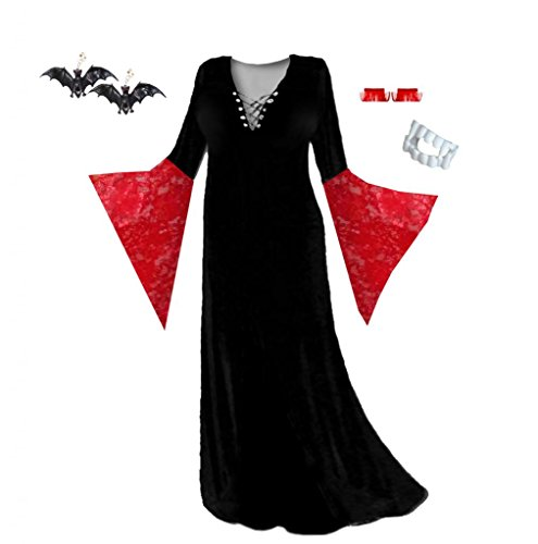 Lace Morticia Costume (Sanctuarie Designs WomensVampiress Black Crush With Red Lace /ECONOMY/ Plus Size Supersize Halloween Kit/XLG/./)