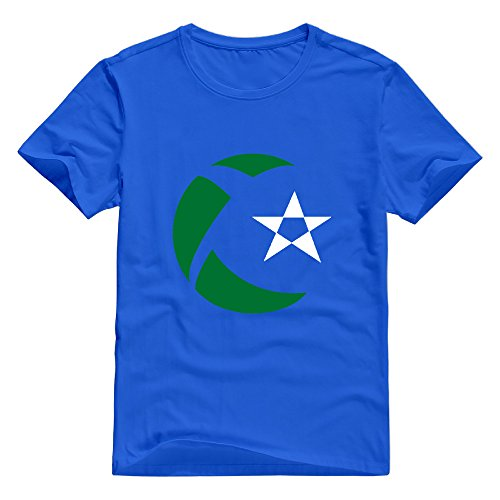 KST Men's Algeria Flag Map Emblem 100% Cotton Crew Neck Geek