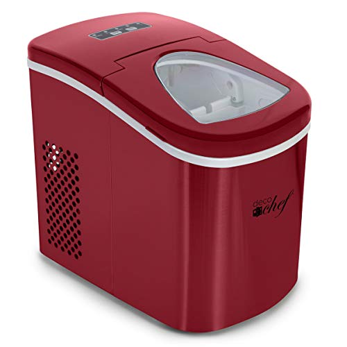 Deco Gear Rapid Electric Party Ice Maker Compact Top Load 26 Lbs. Per Day Capacity Great For Hosting Never Run Out Of Ice Again (Red) (Rv Ice Maker)