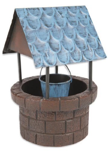 Distressed Robins Egg Blue Miniature Wishing Well for Fairy Gardens, Dollhouses, or Displays