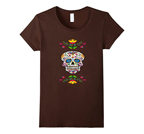 Dio De Los Muertos Costume (Womens Flash Sugar Skull T-shirt Traditional Day of the Dead Shirts Medium Brown)