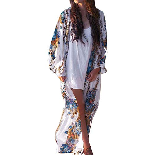 Women Solid Lace Bohemian Beach Long Oversized Kimono Coat (S, White02)