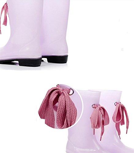 Langschaft Rutschfest Pfützen Pink wasserdicht Damen SYYAN Gummistiefel Transparent w4XxqZx5I