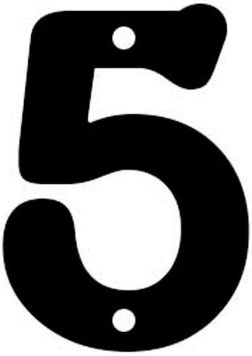 Negro Mate Arthifor N/úmero 5 Chapa para Casa Exterior 12 cm de Alto x 3 cm de Grosor