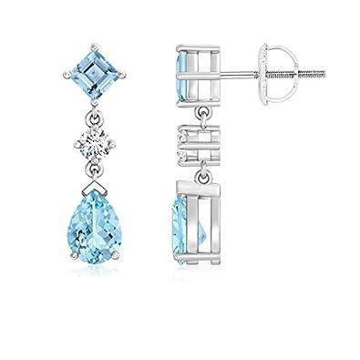 Angara Pear and Square Black Onyx Teardrop Earrings with Diamond 3WoyanPpEU