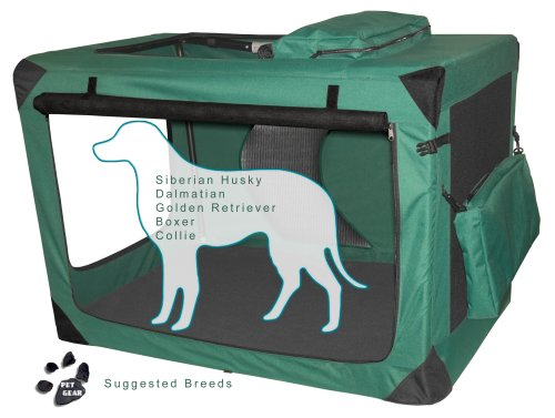 Pet Gear 3 Door Portable Soft Crate, Folds Compact for Travel in Seconds No Tools Required, Comes with Comfort Pad + Storage Bag, Steel Frame, Premium 600D Fabric, Indoor/Outdoor ()