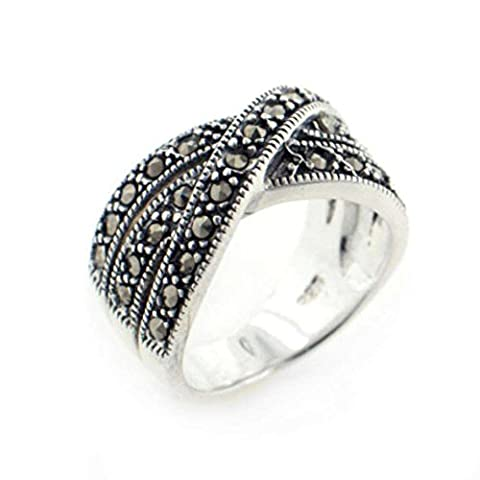 Crossover 11mm Wide Marcasite Sterling Silver X Band Ring Size 9(Sizes 6,7,8,9) (Marcasite Rings Size 11)