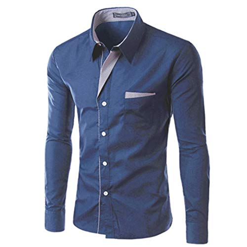 Men Shirts Long Sleeve Cotton Slim Fit French Cuff Casual Male Social Dress Shirt Dark Blue XXL
