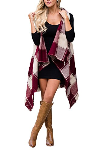 Yobecho Women's Sleeveless Cardigan Plaid High Low Open Front Draped Cardigan Vests Blouses (S, X-Wine) by Yobecho