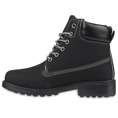 Stiefelparadies Bequeme Damen Stiefeletten Outdoor Worker Boots Flandell Schwarz Avelar