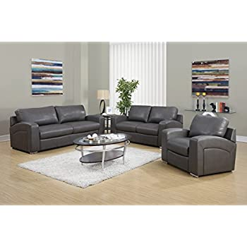 Monarch Specialties I 8503GY Charcoal Grey Bonded Leather With 3 Seater Sofa