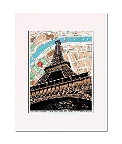 Eiffel Tower, Paris art print. Enhance your home or office. Art Print. You Are Here. Gallery Quality. Matted at 11 inches x 14 inches and Ready to Frame.