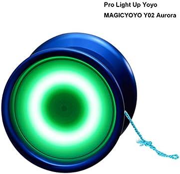 YOSTAR Yoyo Lumineux Enfant Yoyo Professionnel MAGICYOYO Y02-AURORA Unresponsive Yoyo M/étal Noir avec lumi/ère Bleue Gant Sac 5 Cordes