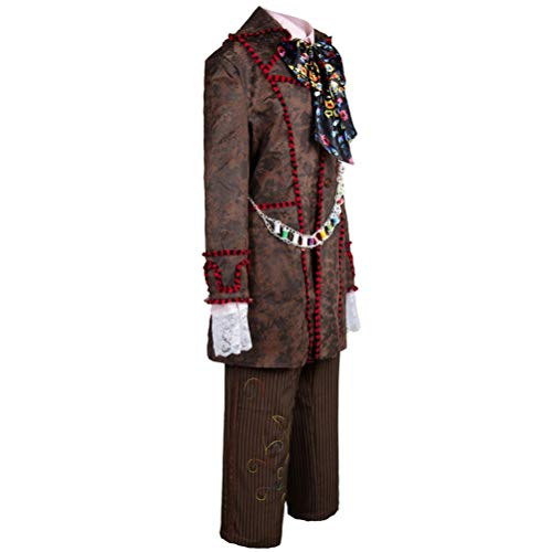 Johnny Depp Mad Hatter Alice in Wonderland 6 Pcs Coat Pants Cosplay Costume Set -