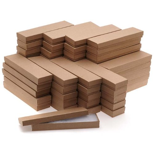 Beadaholique Kraft Brown Cardboard Jewelry Boxes 8 x 2 x 1 Inches (100)
