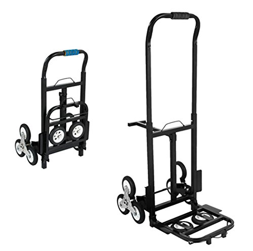 Truck Body Chassis - BestEquip Portable 330 LBS Capacity Stair Climbing Cart 30 Inch Folded Height Stair Climber Hand Truck with Three-Wheel Chassis and Two Spare Wheels for Easy Climbing