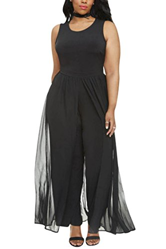 Pink Queen Women's Plus Size Sleeveless Long Pants Jumpsuit with Chiffon Overlay (XXXXL, Black) ()