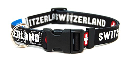 Collar Swiss - PatriaPet Switzerland Swiss World Cup Soccer Dog Collar for Small Medium Large Dogs (Medium: 12-17 in, Black)