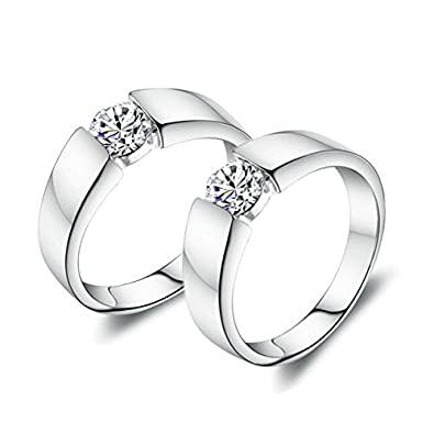 Anvi Jewellers Platinum Plated Splendiferous Couple Love Ring Bands for Men & Women