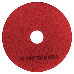 3M 08392 Low-Speed Buffer Floor Pads 5100, 17'' Diameter, Red (Case of 5) by 3M