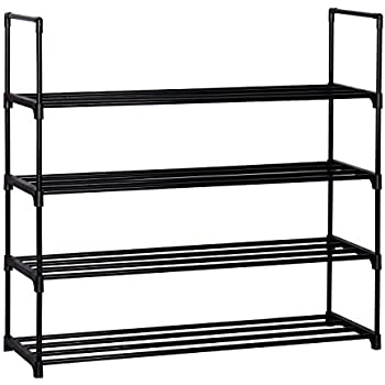 "Homebi 4-Tier Shoe Rack Metal Shoe Tower 20-Pair Shoe Storage Organizer Unit Entryway Shelf Stackable Cabinet with 4 Tiers Durable Metal Shelves in Black,35.6""W x 12.0"" D x 33.27""H"