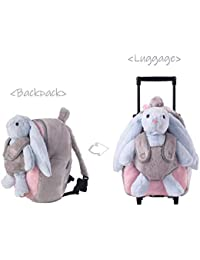 3-Way Toddler Backpack with Removable Wheels - Little Kids Luggage Backpack with Stuffed Animal