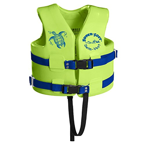 TRC Recreation Child Super-Soft USCG Vest, Kool Lime Green, (Life Vest Pool)