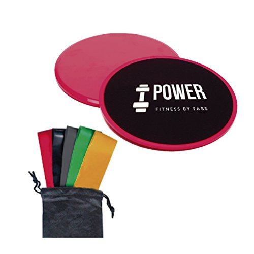 Shaped Disk Pack (Core Sliders Gliding Discs with 5 Resistance Bands - Quality Non-Slip Cloth for Carpet or Floor - Sliders and Stretch Bands for a Full Body Workout - Perfect for Crossfit, Cross Training or Cardio)