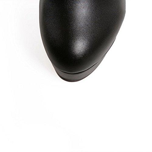 BalaMasa Girls Hollow Out Leopard Pattern Lace Stiletto Imitated Suede Boots Black akhZNv