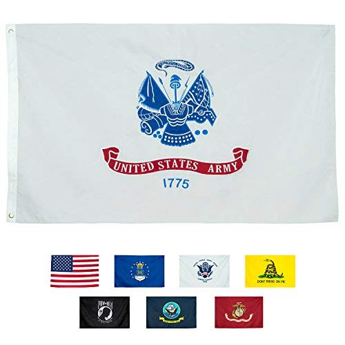 Front Line Flags Army Flag, Heavy Duty Embroidered & Double-Sided | US Military Banner for Inside/Outside Use| UV Protected Long Lasting Nylon | Brass Grommets for Easy Display USA Army Flag