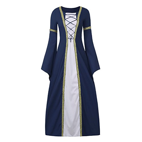 B Costumes Fancy Dress (Women's Medieval Dress Halloween Cosplay Costume Lace Up Vintage Floor Length Retro Long Dress (S, B-navy))