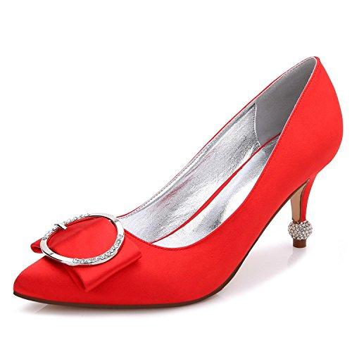 L@YC Damen Schuhe mit hohen Absätzen B-17767-41 Close Toe Spitze Frühling Herbst Seide Custom-Made Large Size Schuhe für die Hochzeit Red