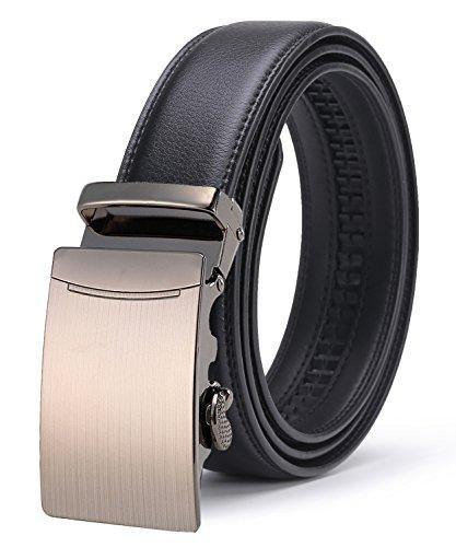 ITIEZY Men's Leather Ratchet Belt Automatic Sliding Buckle Designer Belt For Men (Pistol Interchangeable Grip)