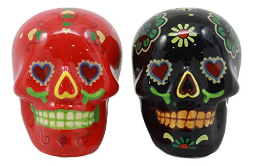 Ebros Love Never Dies Day of The Dead Black and Red Floral Sugar Skulls Salt and Pepper Shakers Set Ceramic Spice Holder Earthenware Kitchen Decor As Dias De Los Muertos Calacas Prop Decorative -
