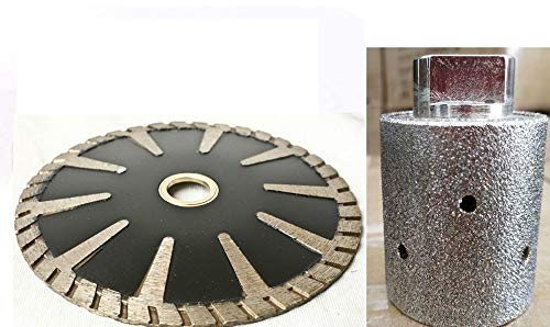 "1 3/8"" Diamond Zero Tolerance Grinding drum 5"" Diamond convex cutting saw blade wet dry use sink cutter contour blade for stone granite marble concrete travertine kitchen countertop repair"