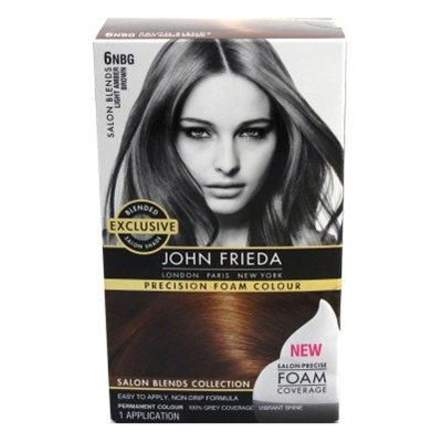 John Frieda Precision Foam Colour Permanent Hair Colour Kit Light Amber Brown [6NBG] 1 Each (Pack of 6) by John Frieda