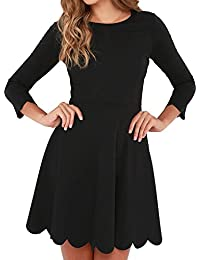 Women's O-Neck 3/4 Sleeve Pleated Tunic Wavy Skater Dress