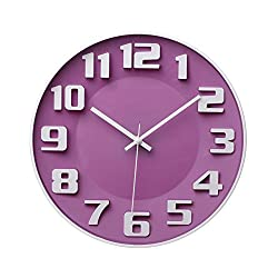 YINGLI Modern Colorful Wall Clock 3D Numerals and Silent Sweep Quiet Movement Non-ticking Wall Clock, 14 (Purple)