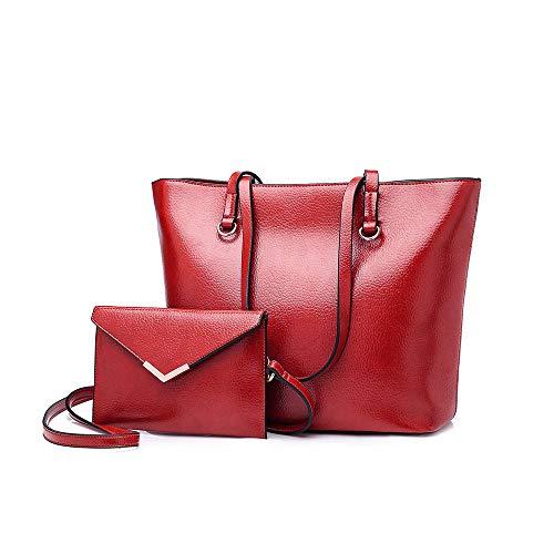Moda Con Borsa Shopping Set Pu Tote Pelle Borsetta Donna A Mano Rosso Bagtech a0RXwqX