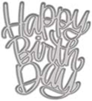 Modello di Goffratura dello Stencil per Lalbum Fai-da-Te Album di Carta di Carta Art Craft Decoration Argento TankMR Happy Birthday Metal Cutting Muore