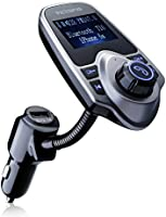 Bluetooth FM Transmitter, VicTsing® USB Car Charger Wireless Car Kit with 3.5mm Audio Port, TF Card Slot, 1.44 Inches Screen Supports Display Car Battery Voltage, Song Names, Incoming Phone Number